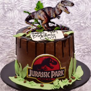 Jurassic themed birthday cake