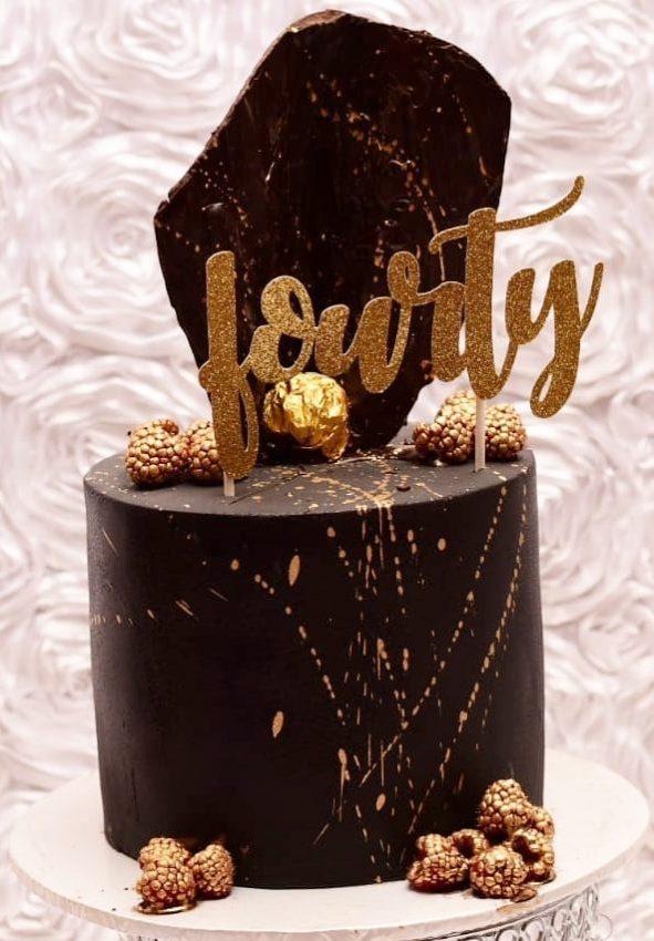 Happy Birthday Cakes, black and golden